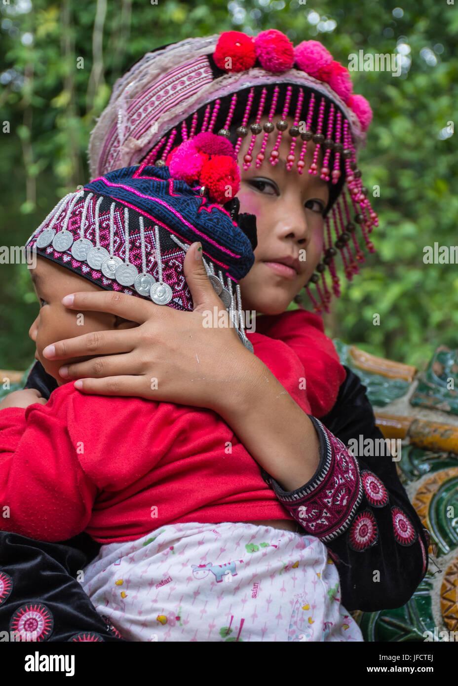 North Hilltribe Children Thailand - Stock Image