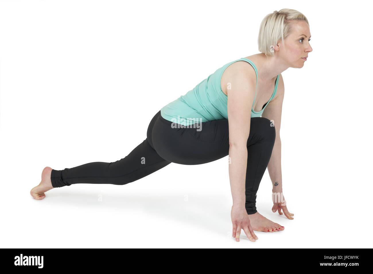 Yoga woman green position_193 Stock Photo