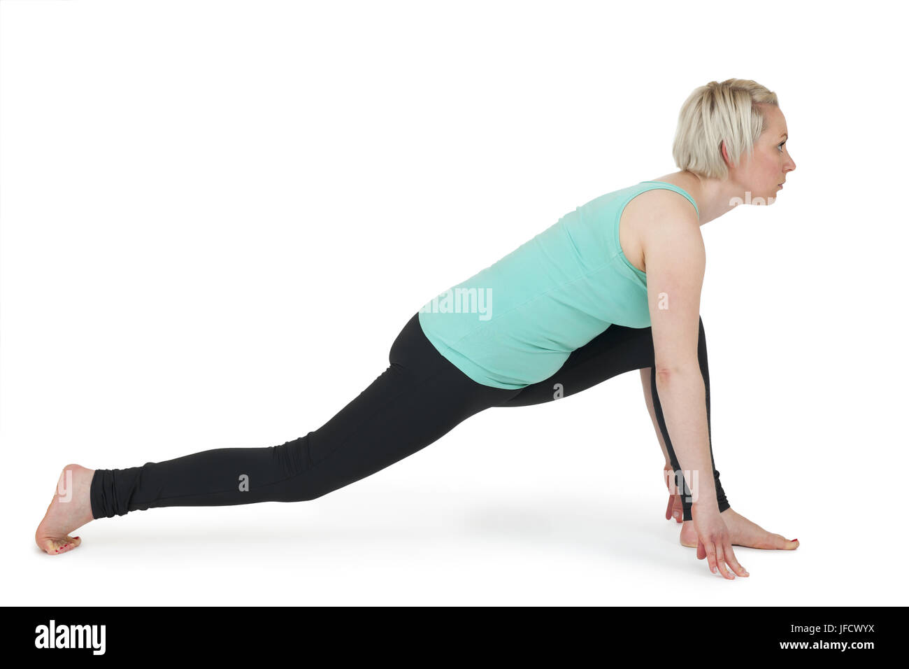 Yoga woman green position_191 Stock Photo