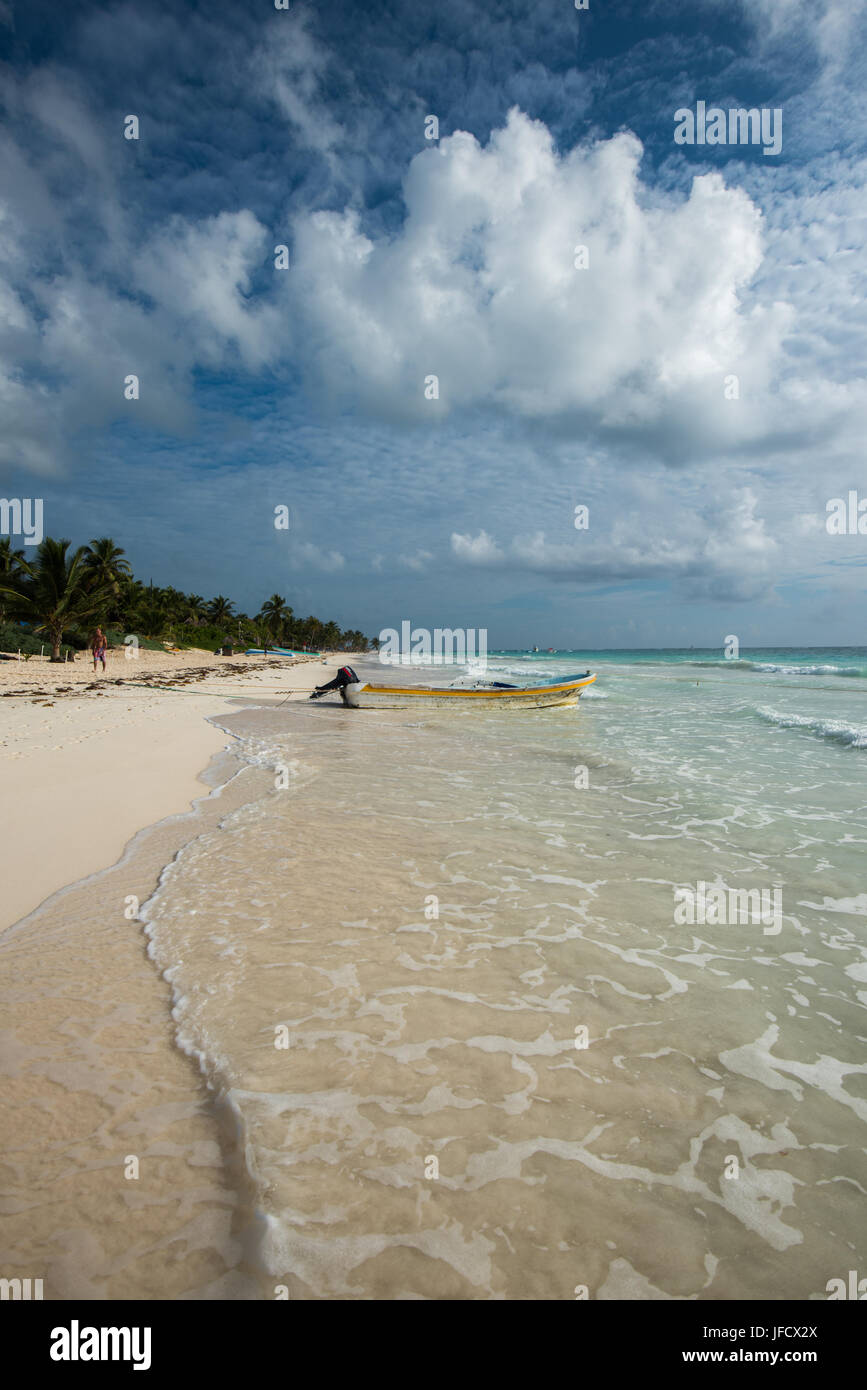 Caribbean beach panorama, Tulum, Mexico Stock Photo