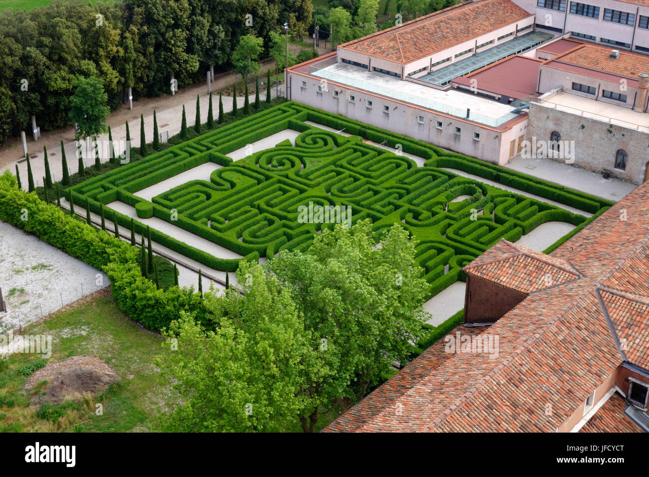 View from the spire of San Giorgio Maggiore church of the Garden maze - Stock Image