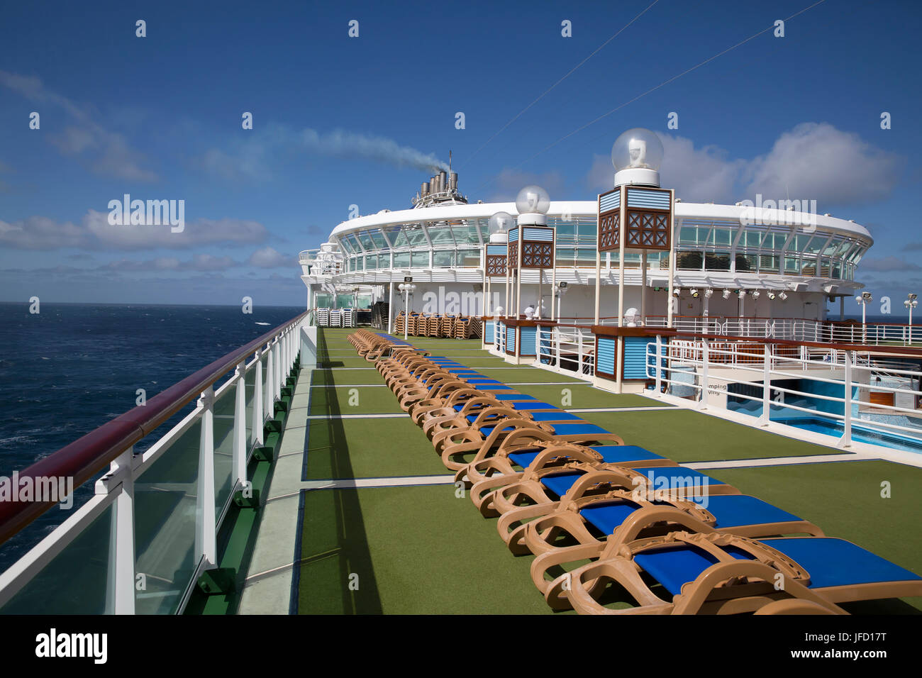 View across the top deck on board P&O Cruise ship Azura - Stock Image