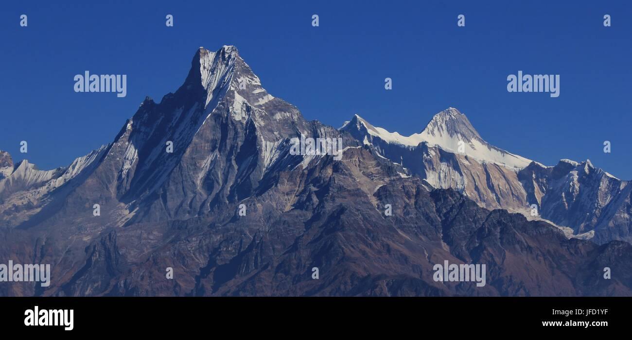 Mount Machapuchare and Lamjung Himal - Stock Image