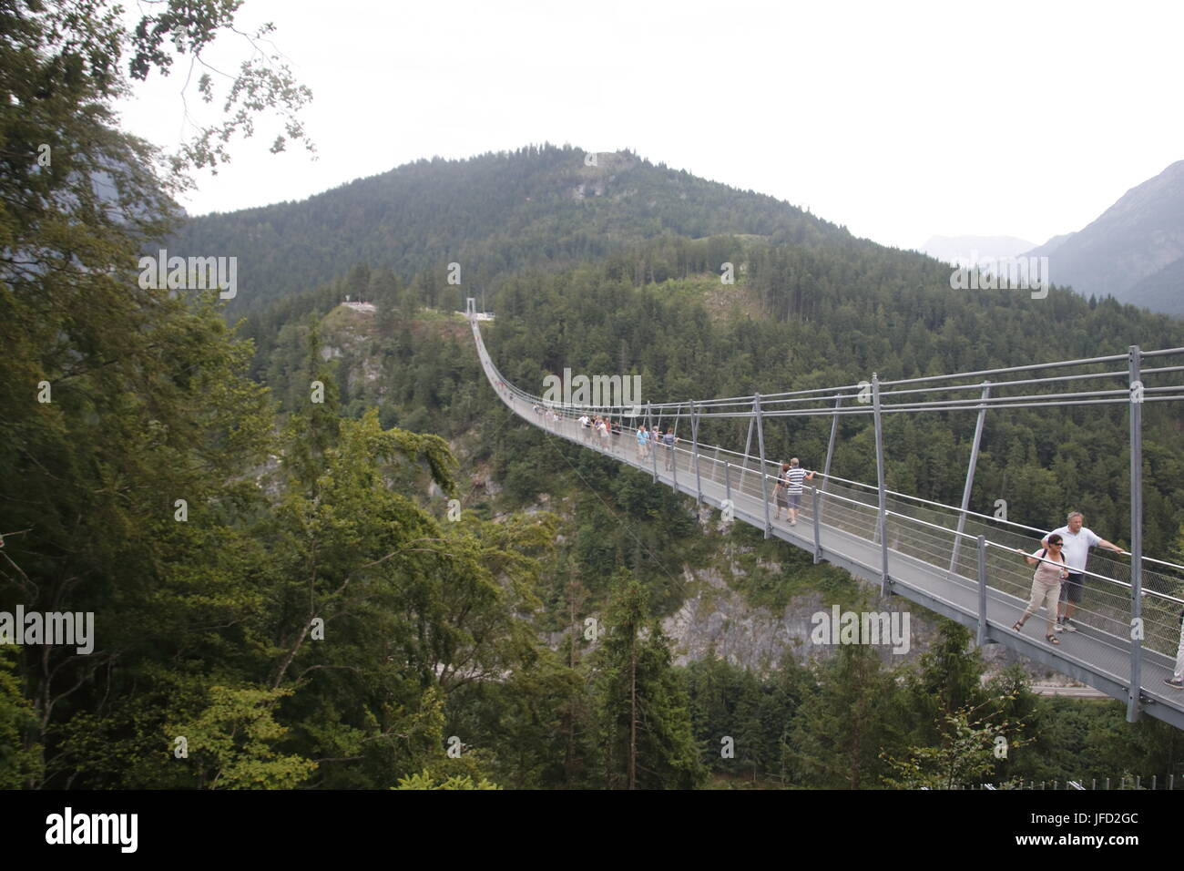 Suspension bridge Reutte Tirol, Highline 179 Stock Photo