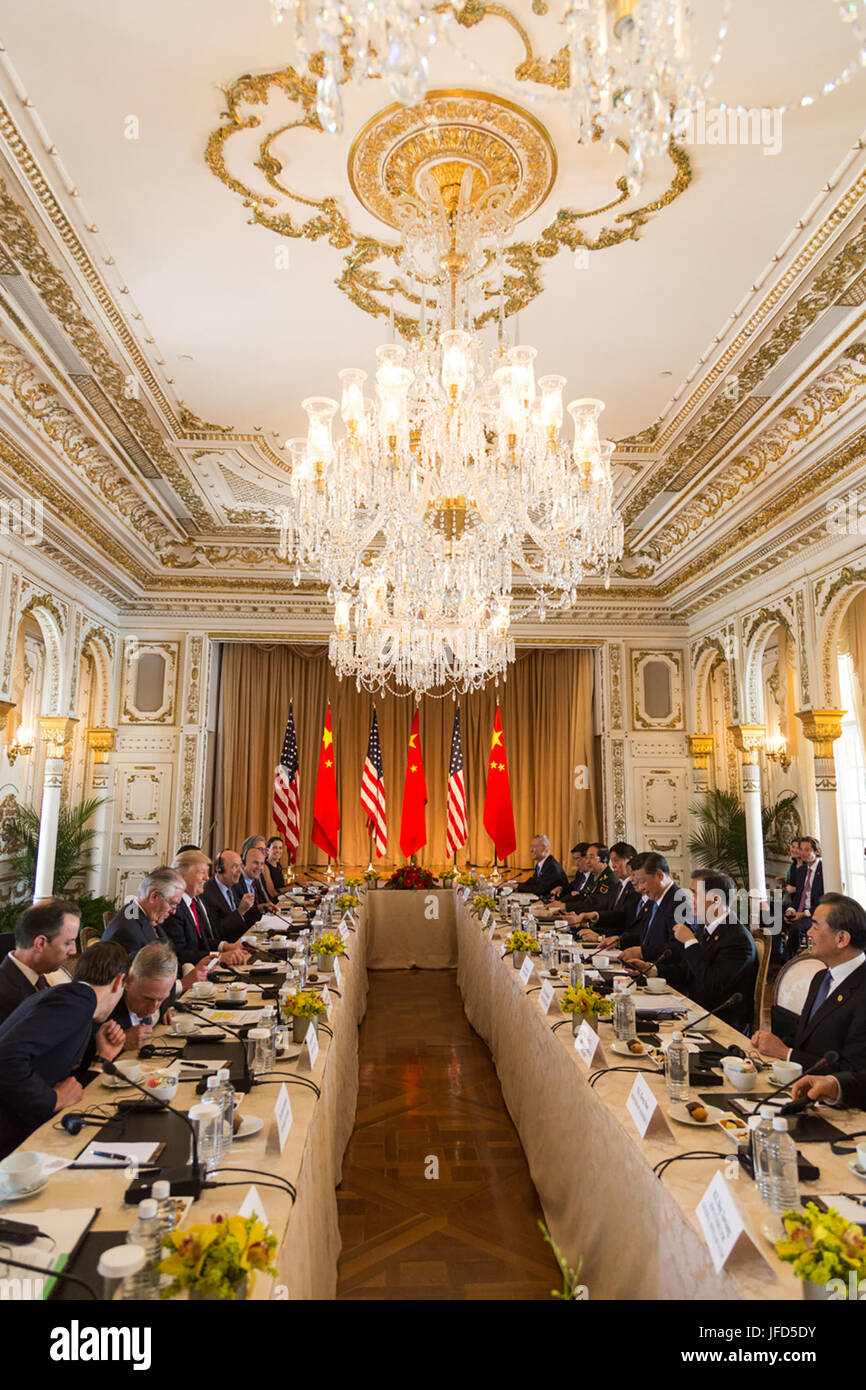 President Donald Trump attends an expanded delegation working group meeting, Friday, April 7, 2017, with Chinese - Stock Image