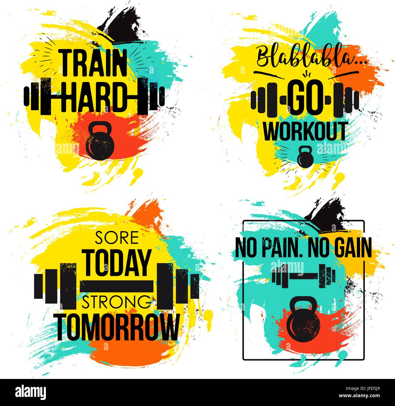 Gym And Fitness Motivation Quote Set Stock Vector Image Art Alamy