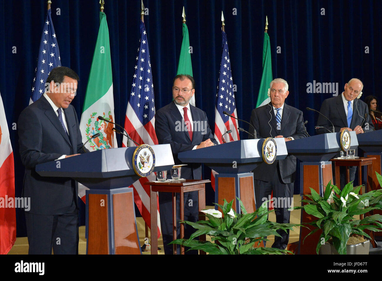 U.S. Secretary of State Rex Tillerson, U.S. Secretary of Homeland Security John F. Kelly, and Mexican Foreign Secretary - Stock Image