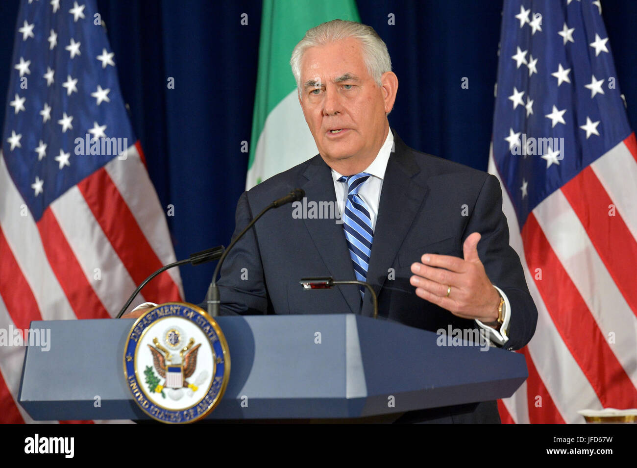 U.S. Secretary of State Rex Tillerson addresses reporters at a press conference with U.S. Secretary of Homeland - Stock Image
