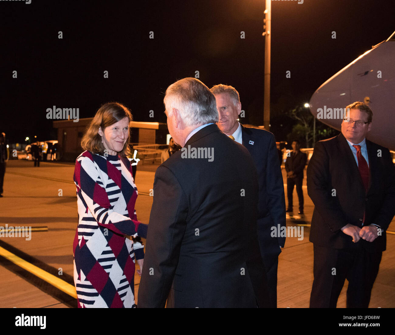 U.S. Secretary of State Rex Tillerson is greeted by U.S. Consul General Valerie Fowler ahead of the Australia–U.S. - Stock Image