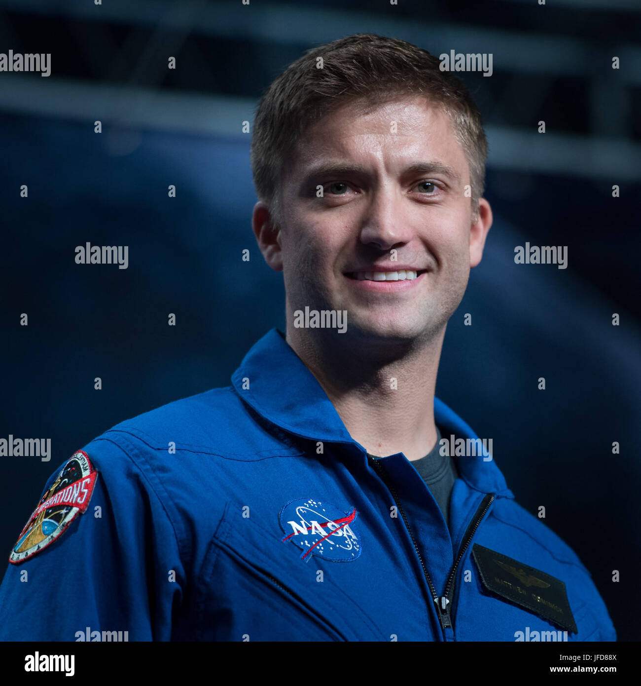 35-year-old NASA astronaut candidate Matthew Dominic smiles as he is introduced as one of 12 new candidates, Wednesday, - Stock Image