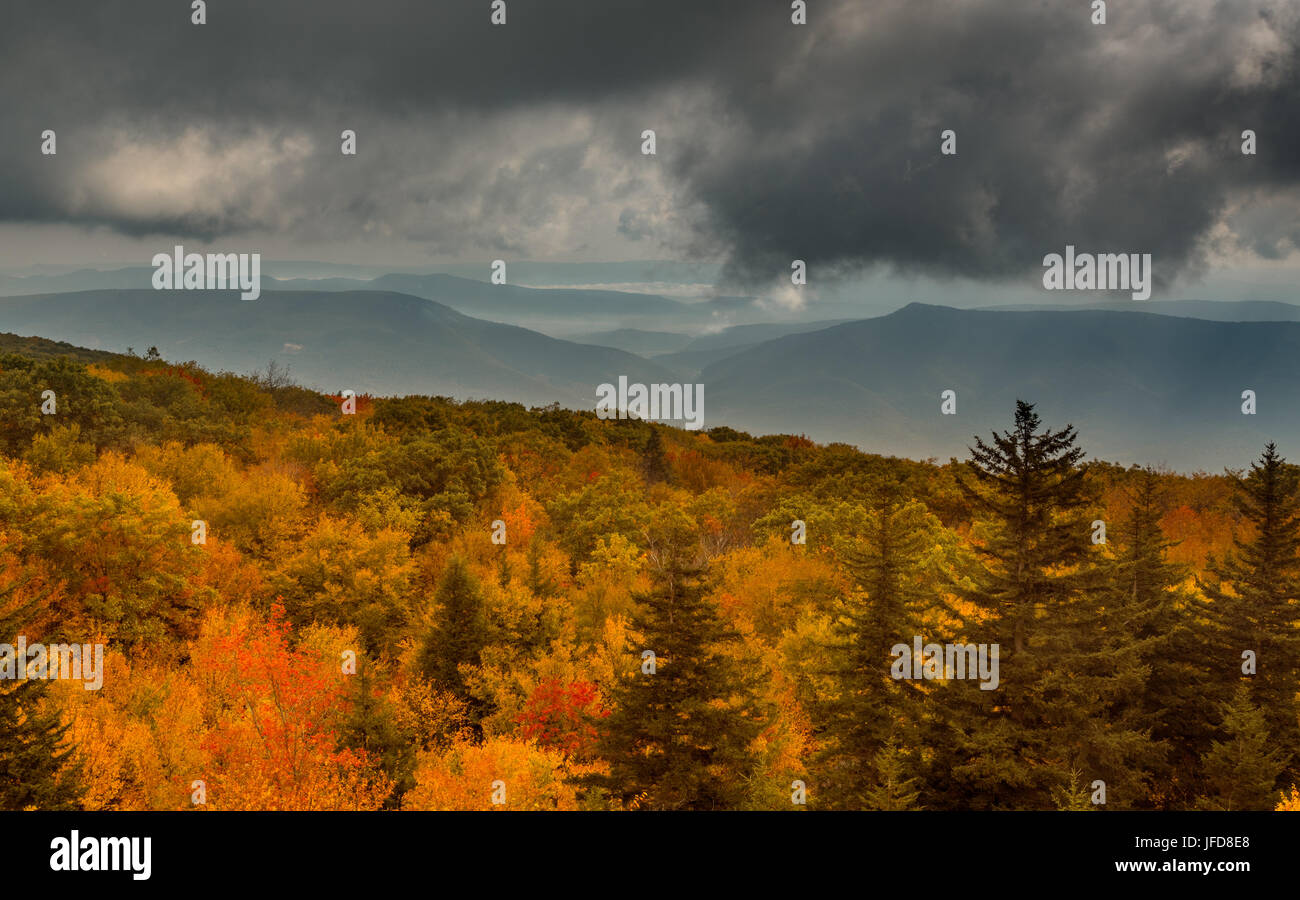 Panorama of stormy hills from Dolly Sods - Stock Image