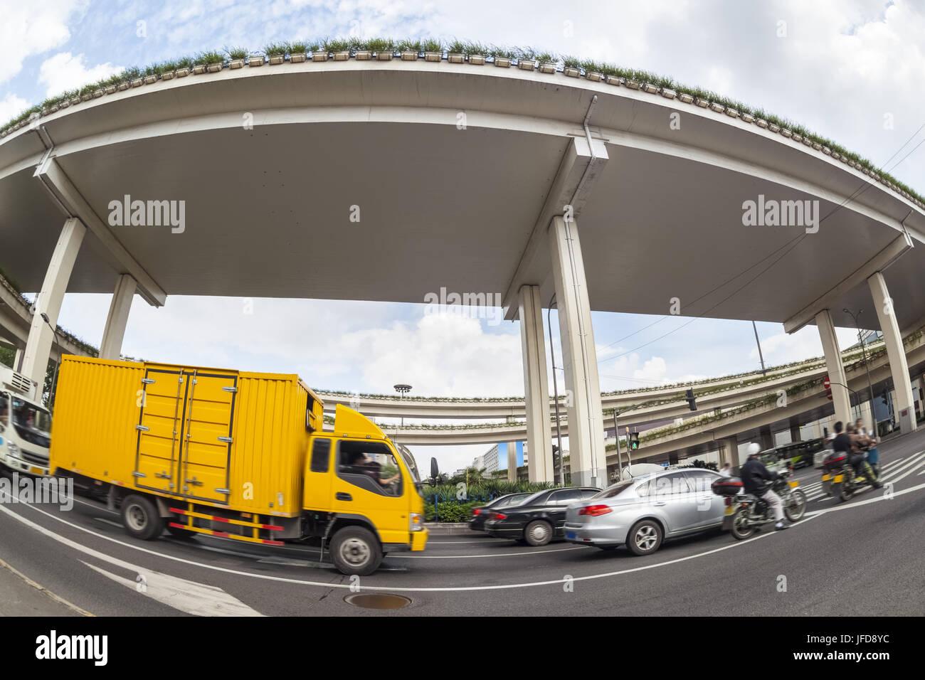 city overpasses , fisheye view - Stock Image