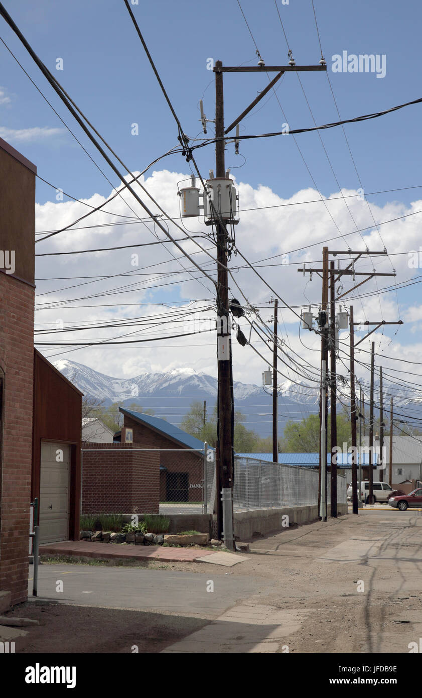 poles and wires in Salida colorado usa - Stock Image