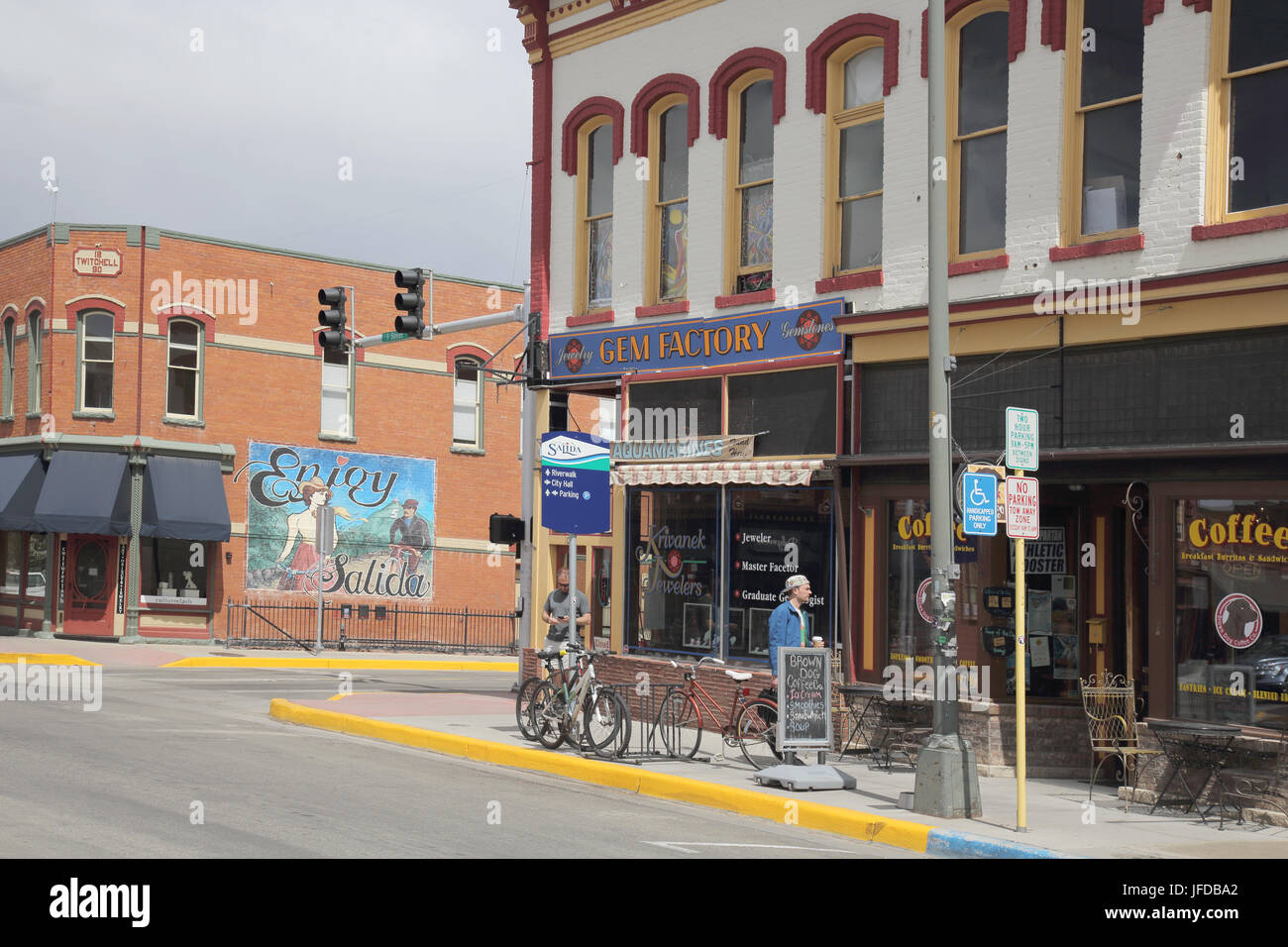 the riverside railroad town of Salida in colorado usa - Stock Image