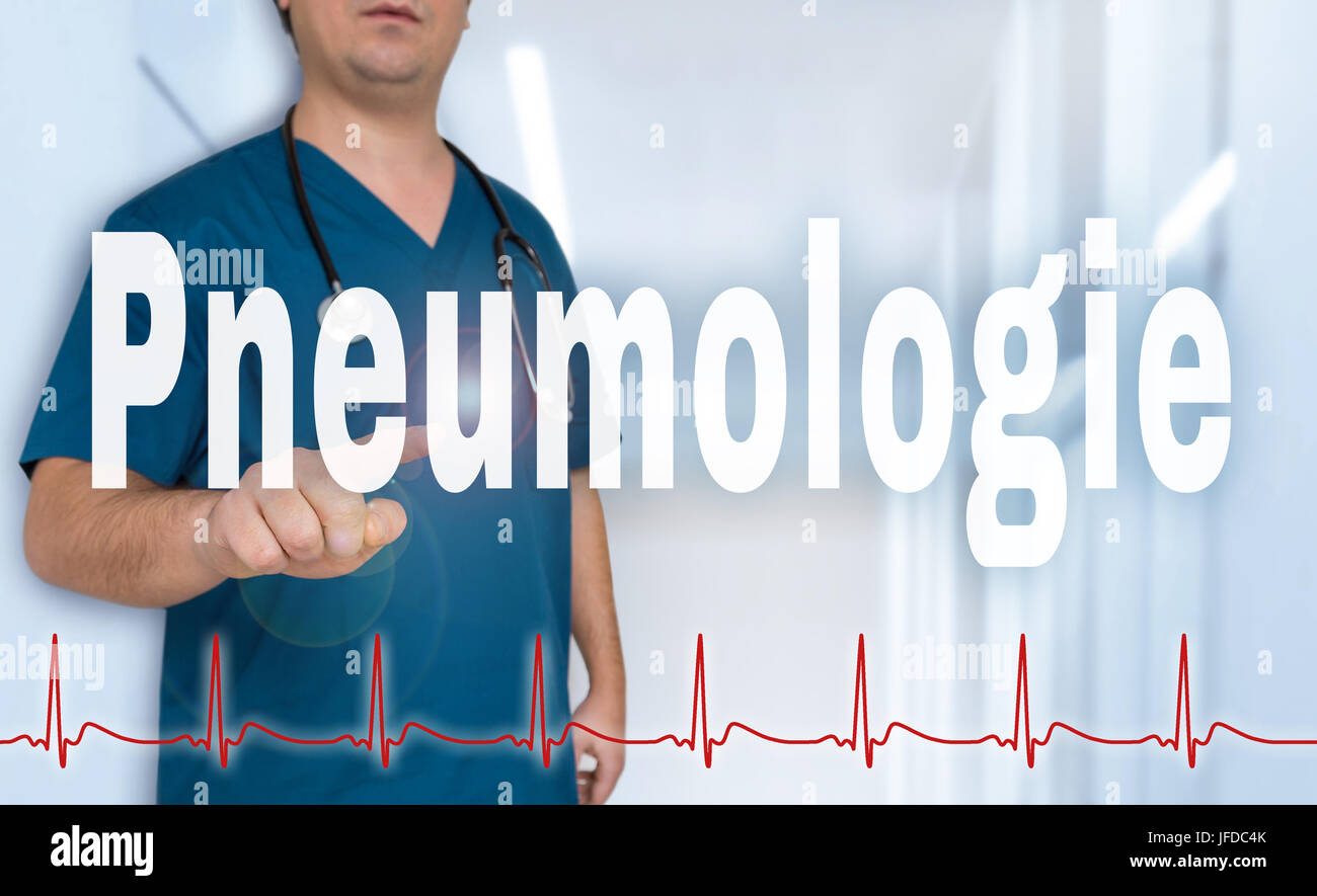 Pneumologie (in german Pneumology) doctor shows on viewer with heart rate concept. - Stock Image