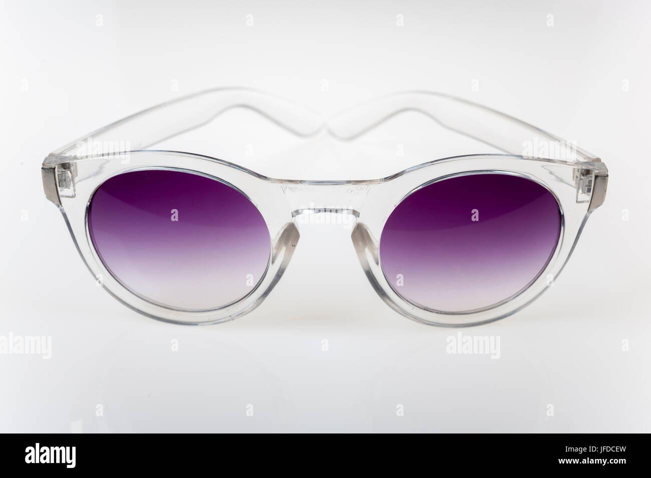 Close-up view on eyeglasses on white background - Stock Image