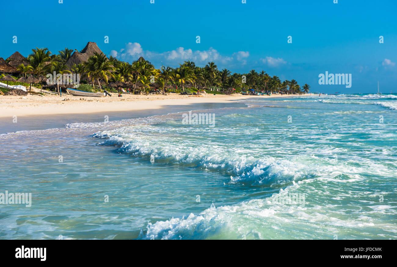 Caribbean beach panorama, Tulum, Mexico - Stock Image