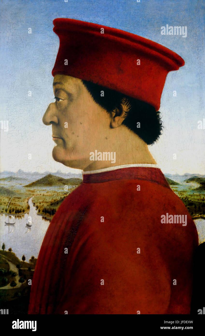 The Duke and Duchess of Urbino 1465-1472  Piero della Francesca 1415 - 1492) was an Italian painter of the Early - Stock Image