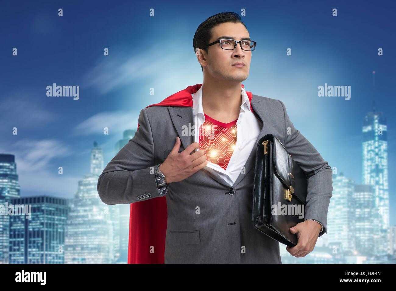 Superhero preparing to save the city - Stock Image