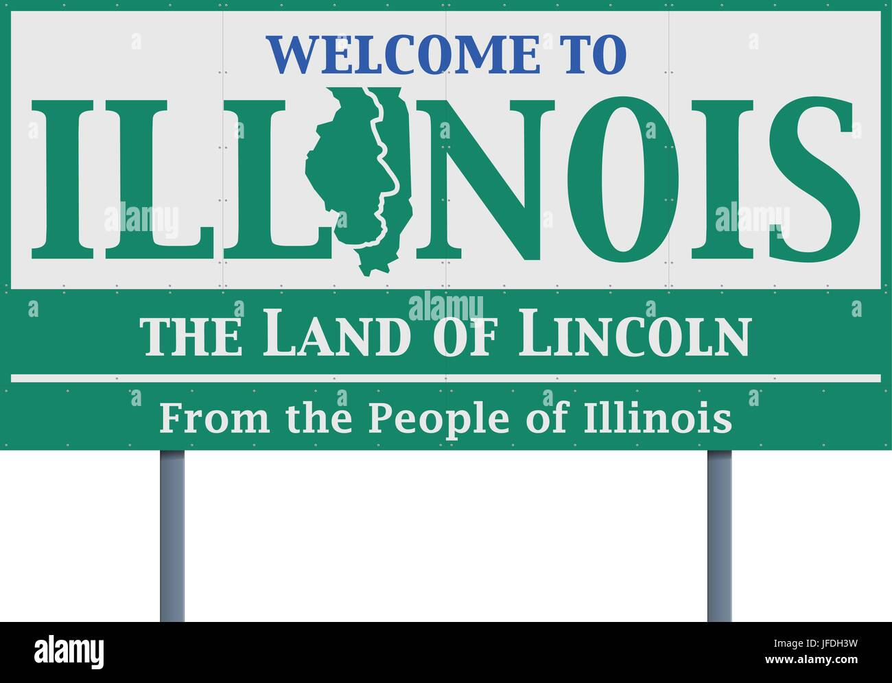Vector illustration of the welcome state of Illinois road sign - Stock Vector
