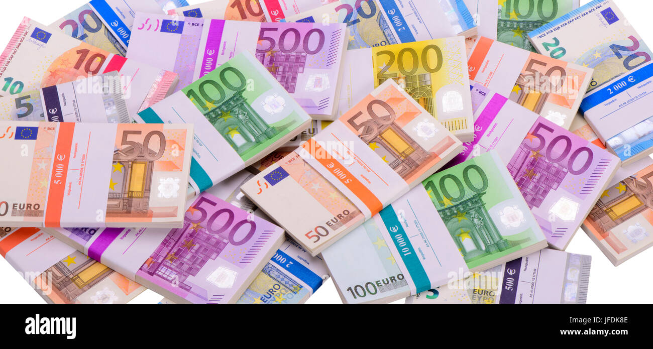 bundles of euro banknotes - Stock Image