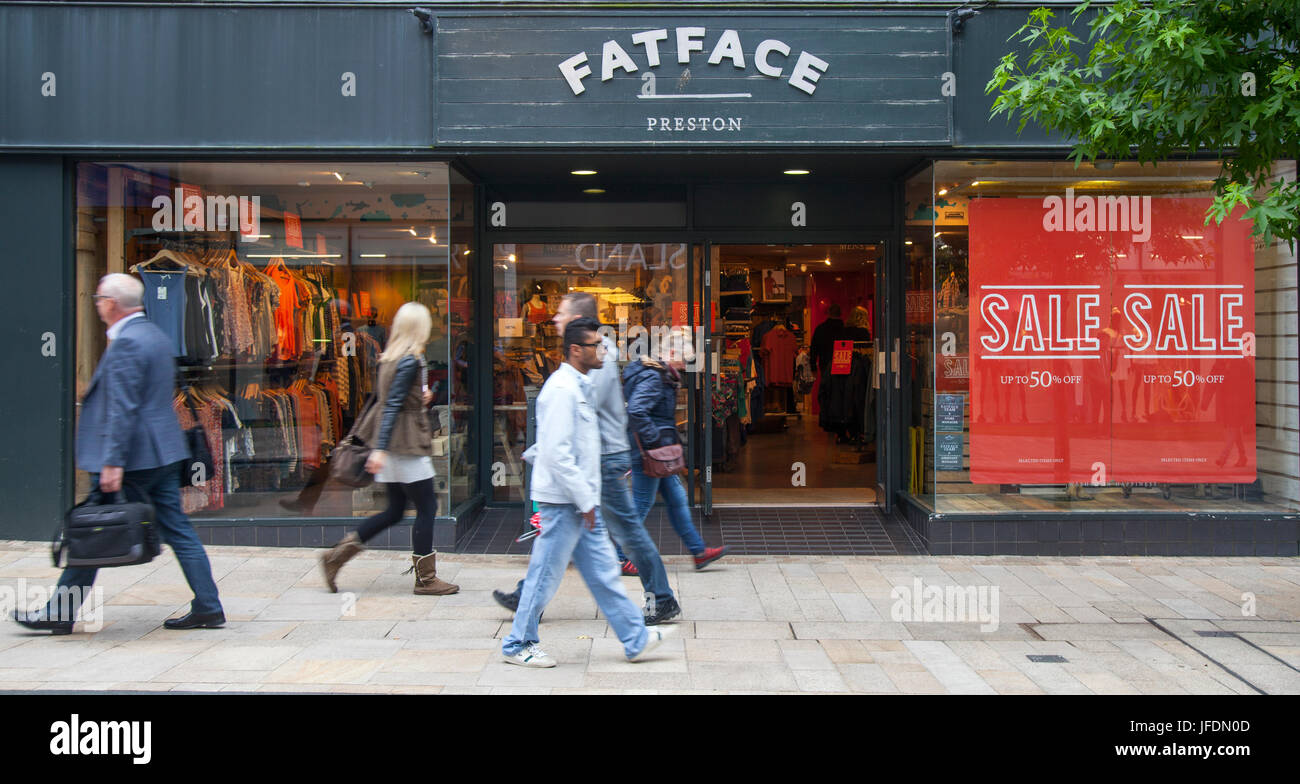 Fatface shop front with Summer Sales Posters, in Fishergate, Preston, UK - Stock Image