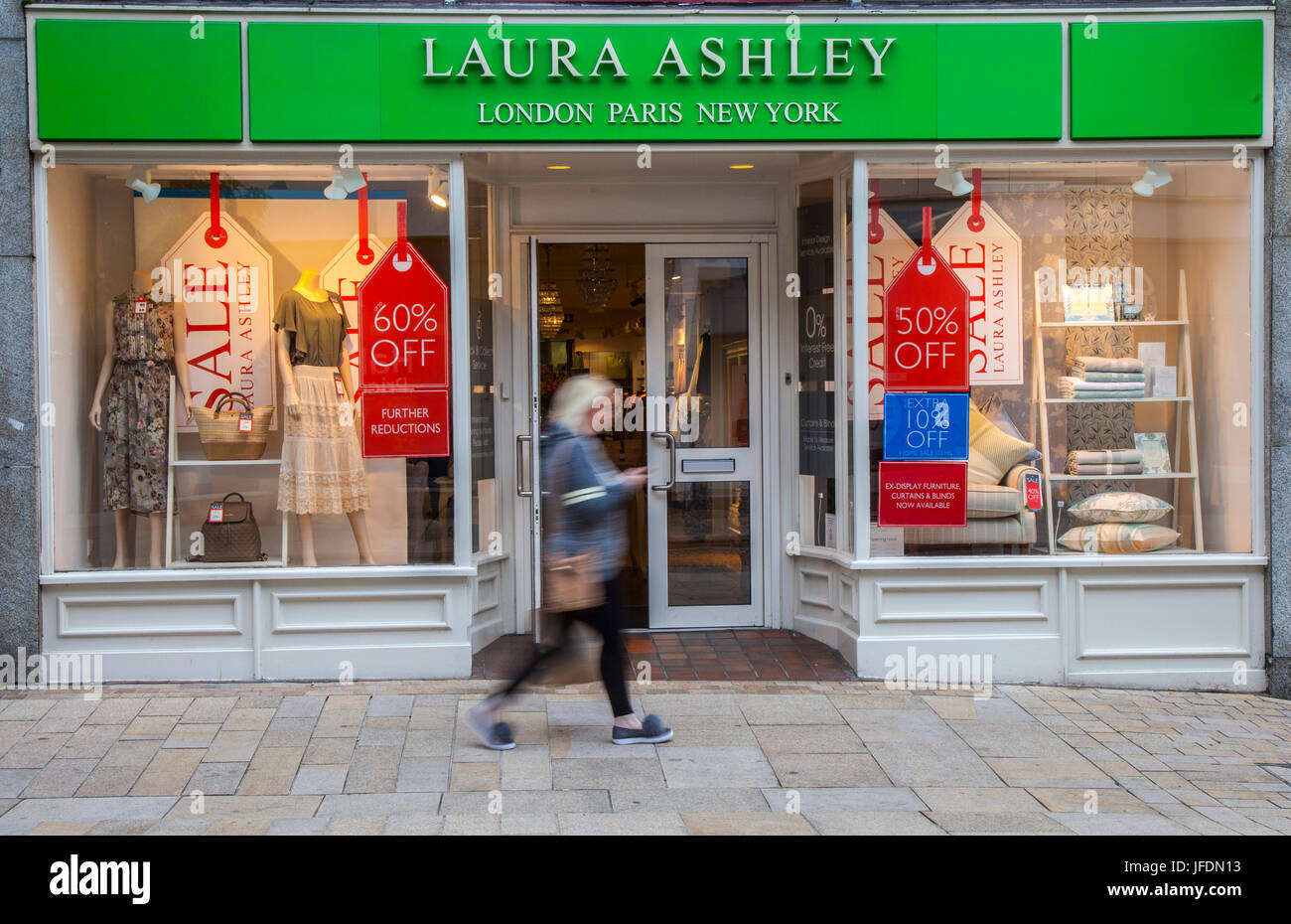 Laura Ashley shop front _Summer Sales Posters, in Fishergate, Preston, UK - Stock Image