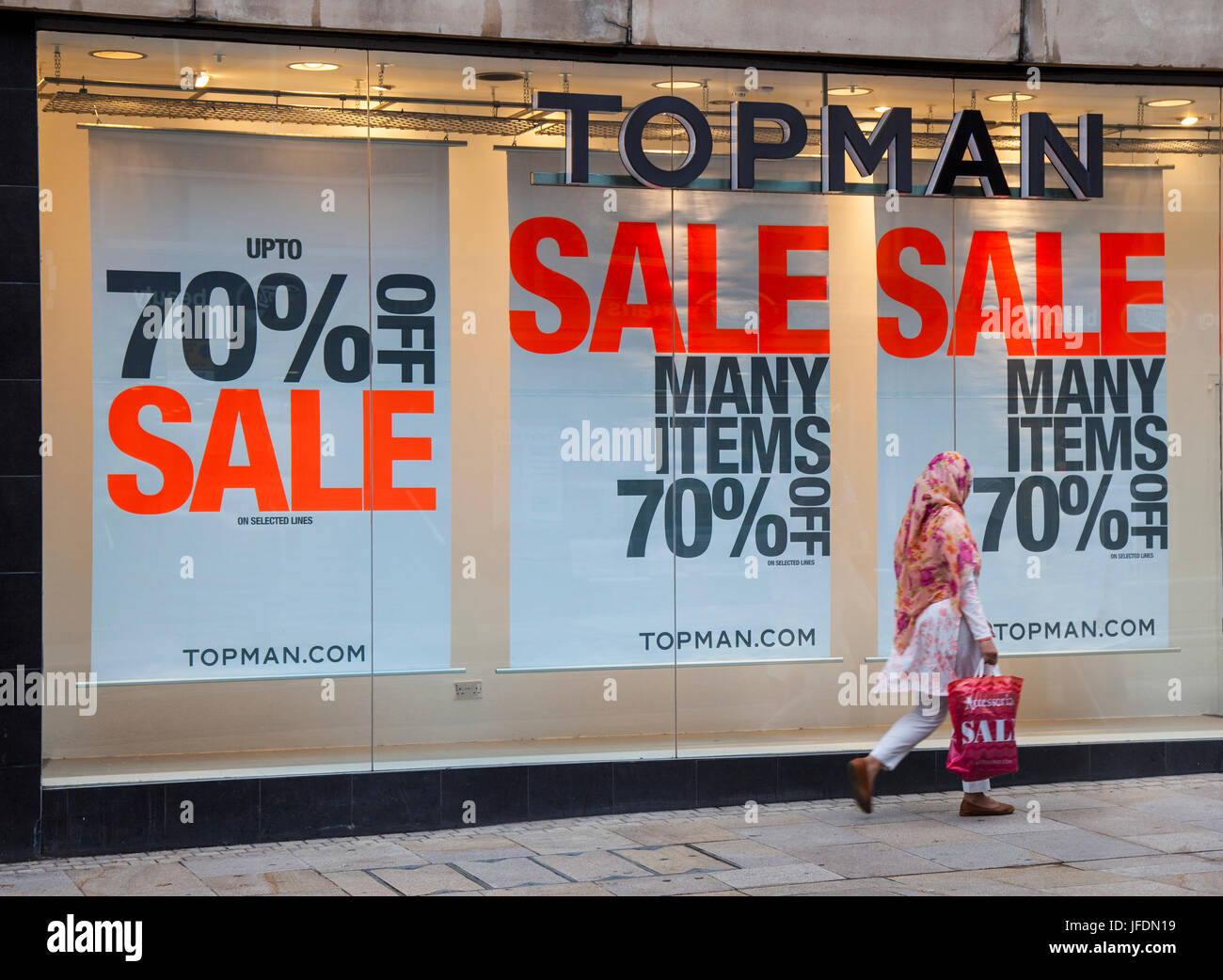 Topman Shop front with Summer Sales Posters, in Fishergate, Preston, UK - Stock Image