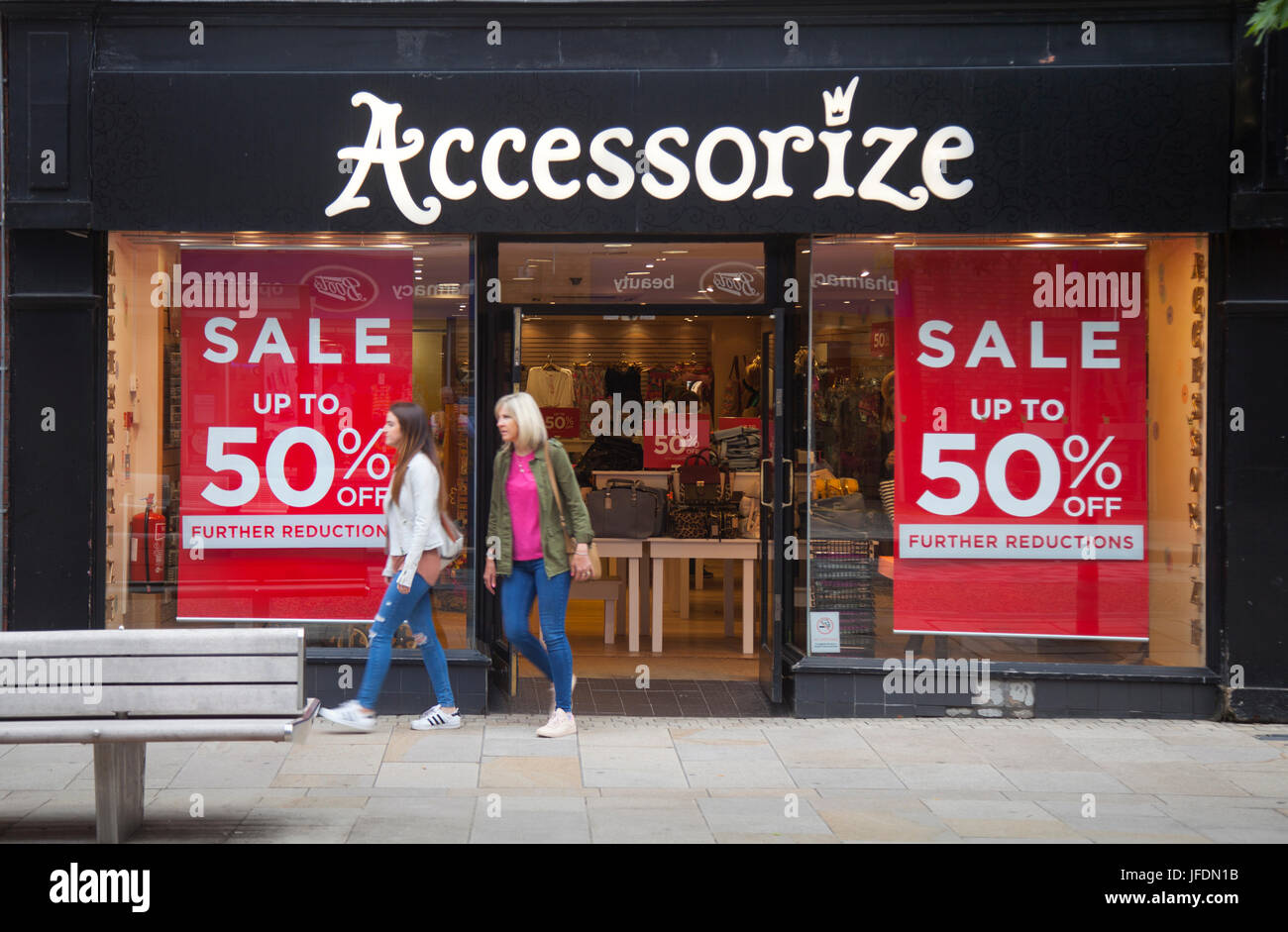 Accessorize Shop front with Summer Sales Posters, in Fishergate, Preston, UK - Stock Image