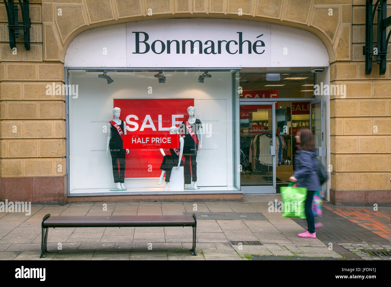 Bonmarche summer sale shop front with Summer Sales Posters, in Fishergate, Preston, UK - Stock Image