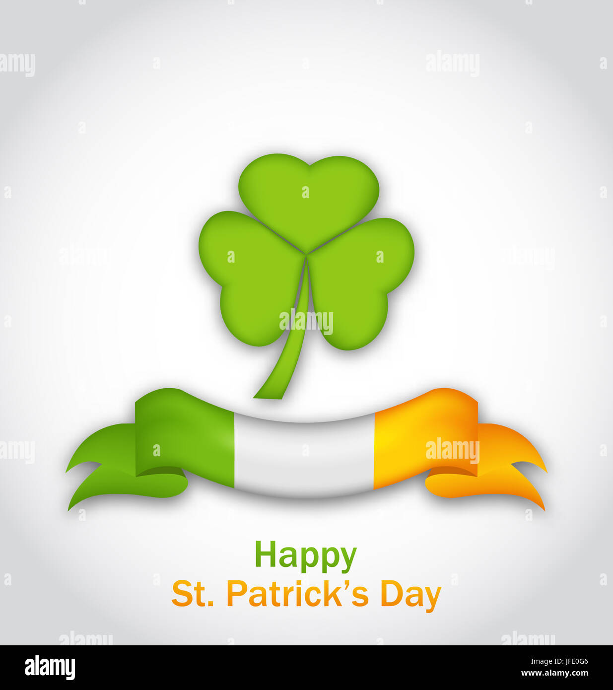 Illustration clover with ribbon in traditional Irish flag colors for St. Patrick's Day - Stock Photo