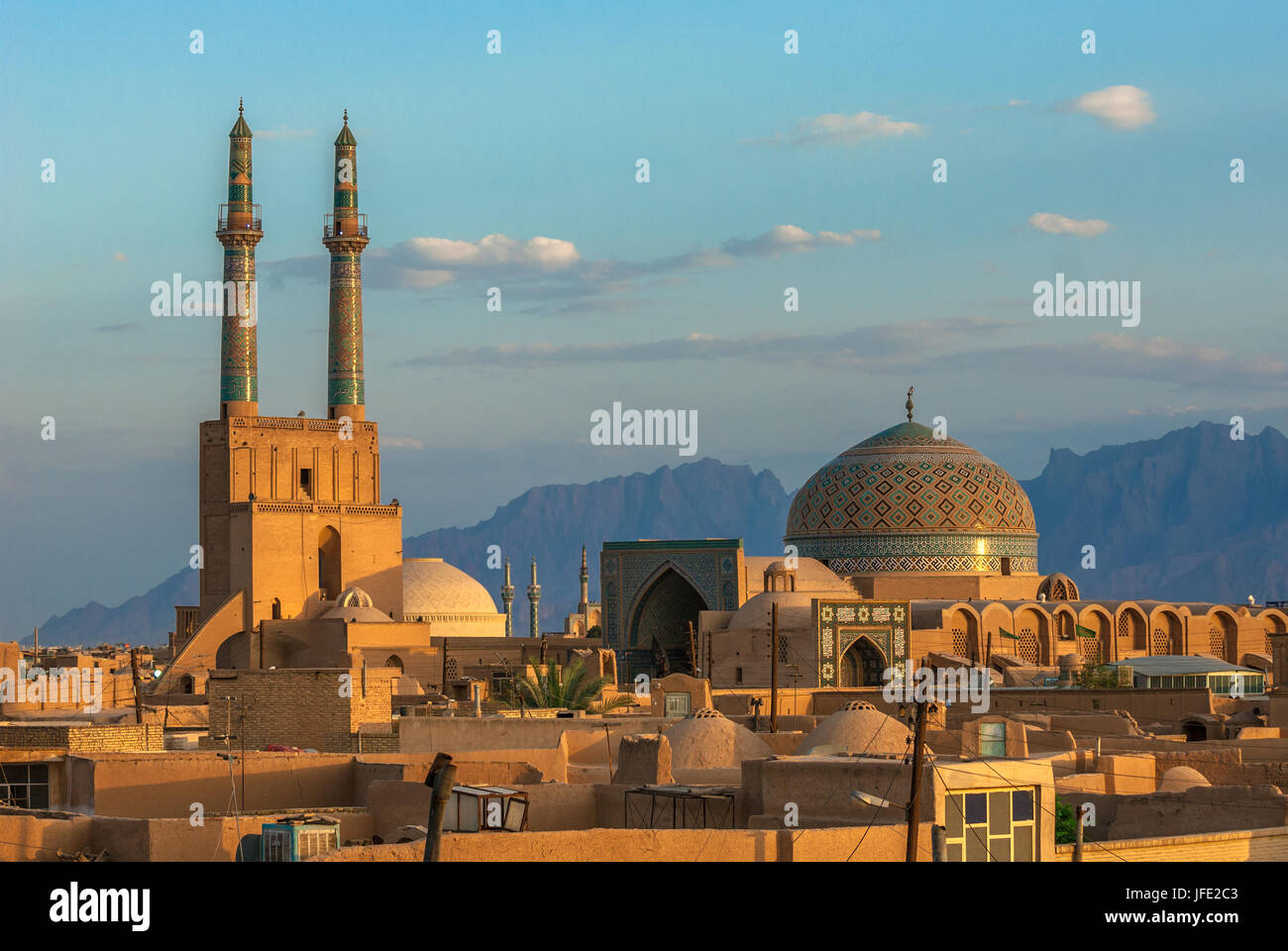 Sunset over ancient city of Yazd, Iran - Stock Image