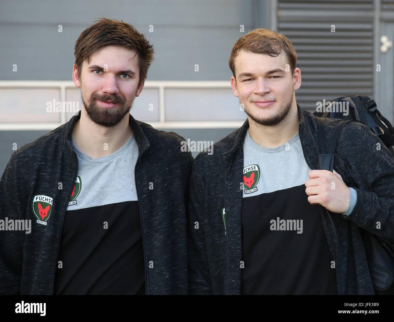 Fabian Wiede and Paul Drux (Füchse Berlin) - Stock Image