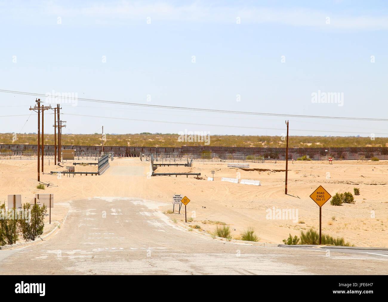 U.S.-Mexico Border Fence - Stock Image