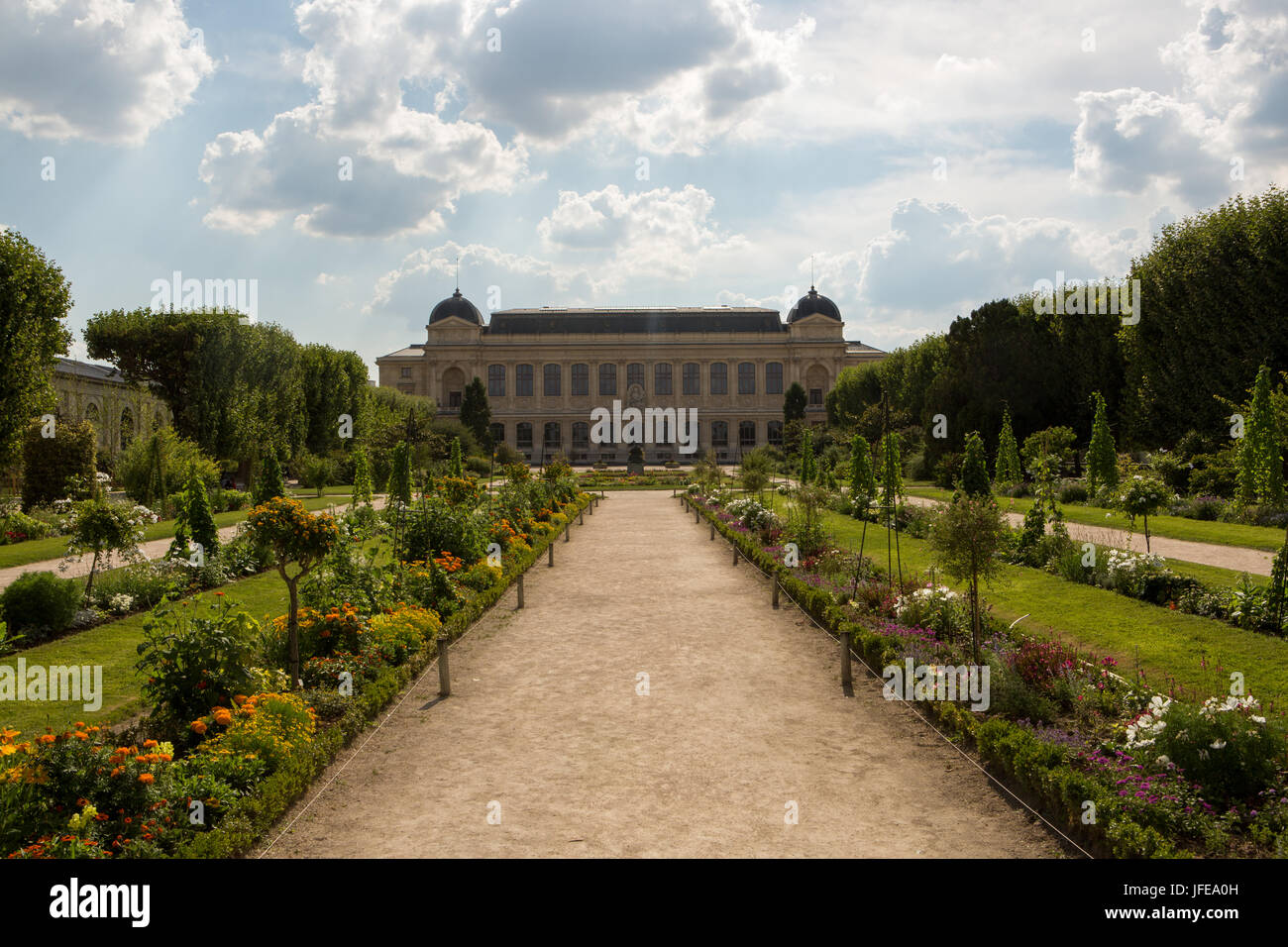 A view of the botanical garden Jardin des Plantes and ...