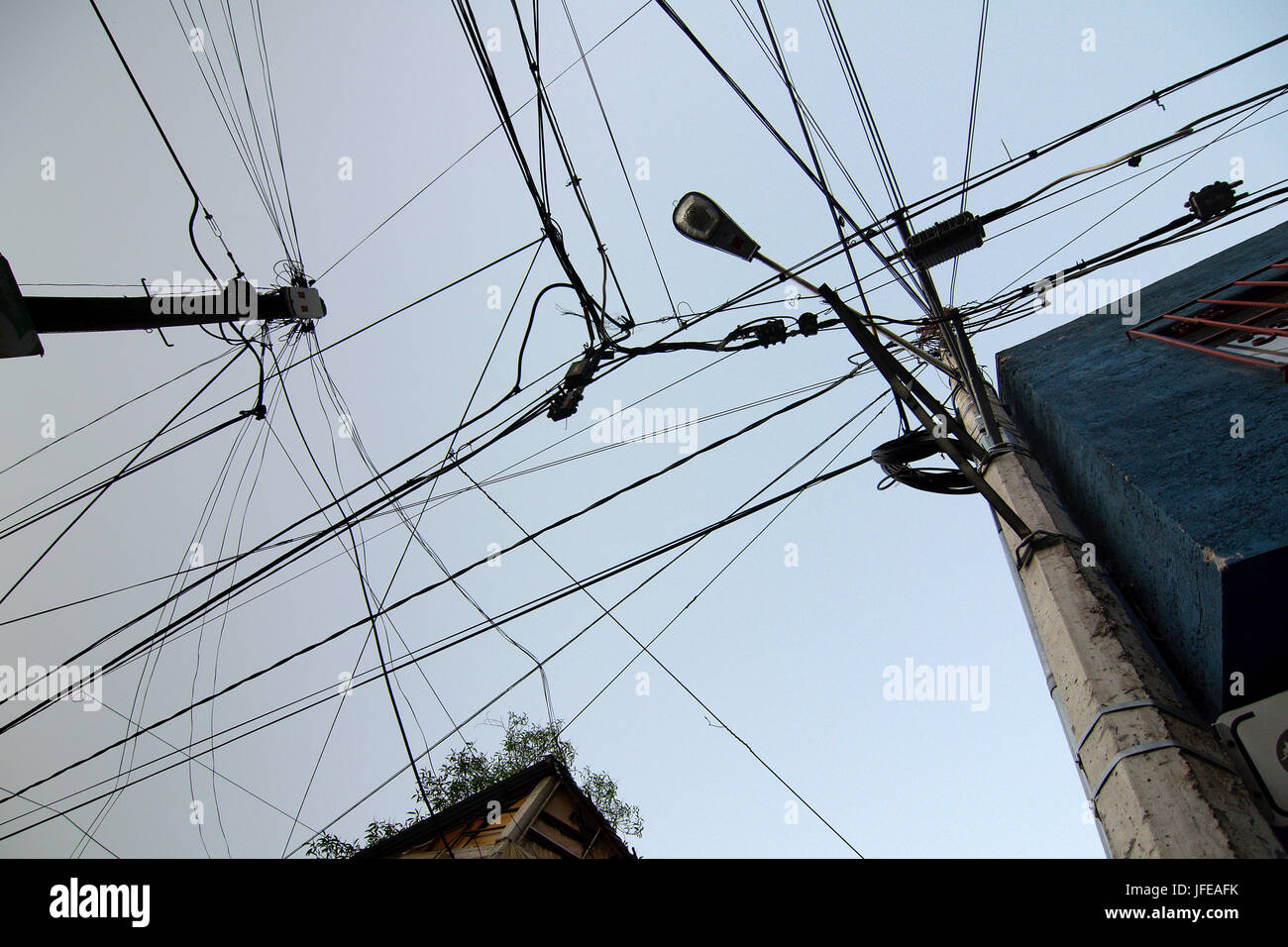 Electric cables mess - Stock Image