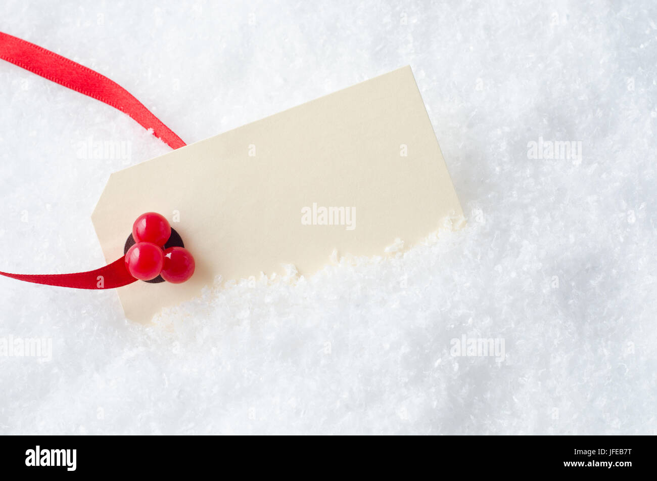 a blank christmas gift tag attached to a red ribbon and decorated with plastic red - Decorative Christmas Gift Tags