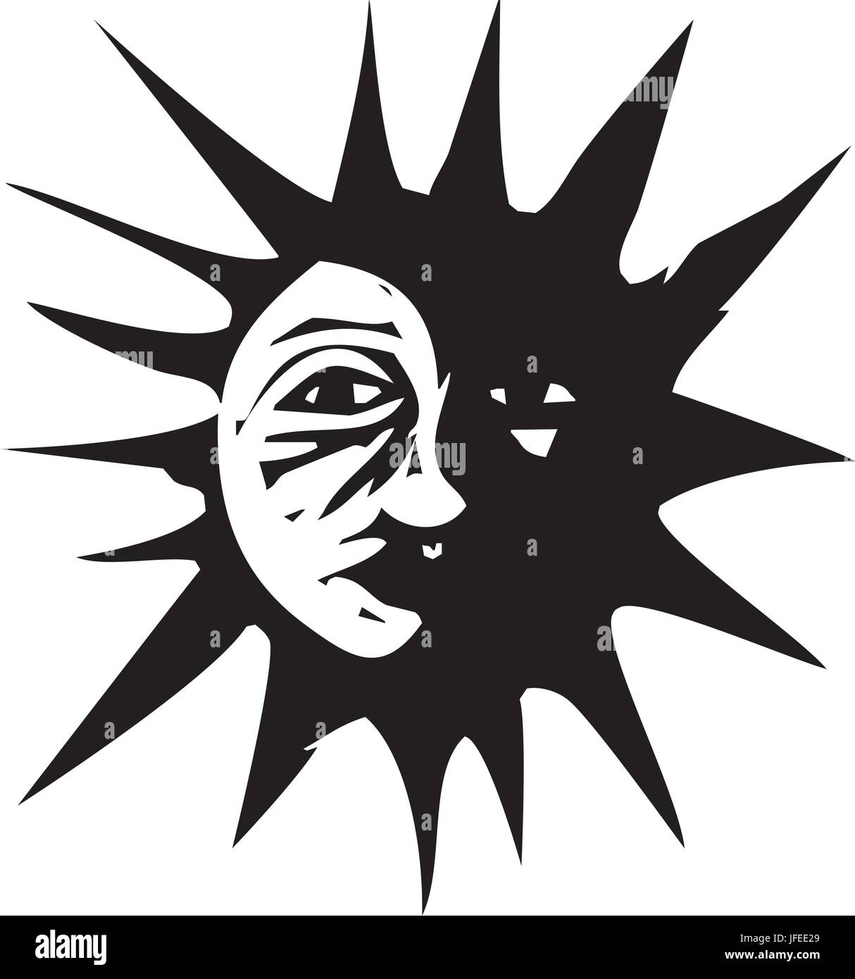 Woodcut style image of the sun in eclipse by the moon. - Stock Vector