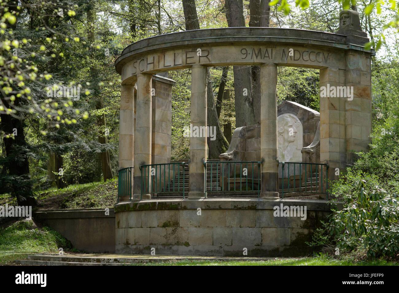 Friedrich Schiller, shimmer monument, Karlsbad, Czechia, Europe - Stock Image