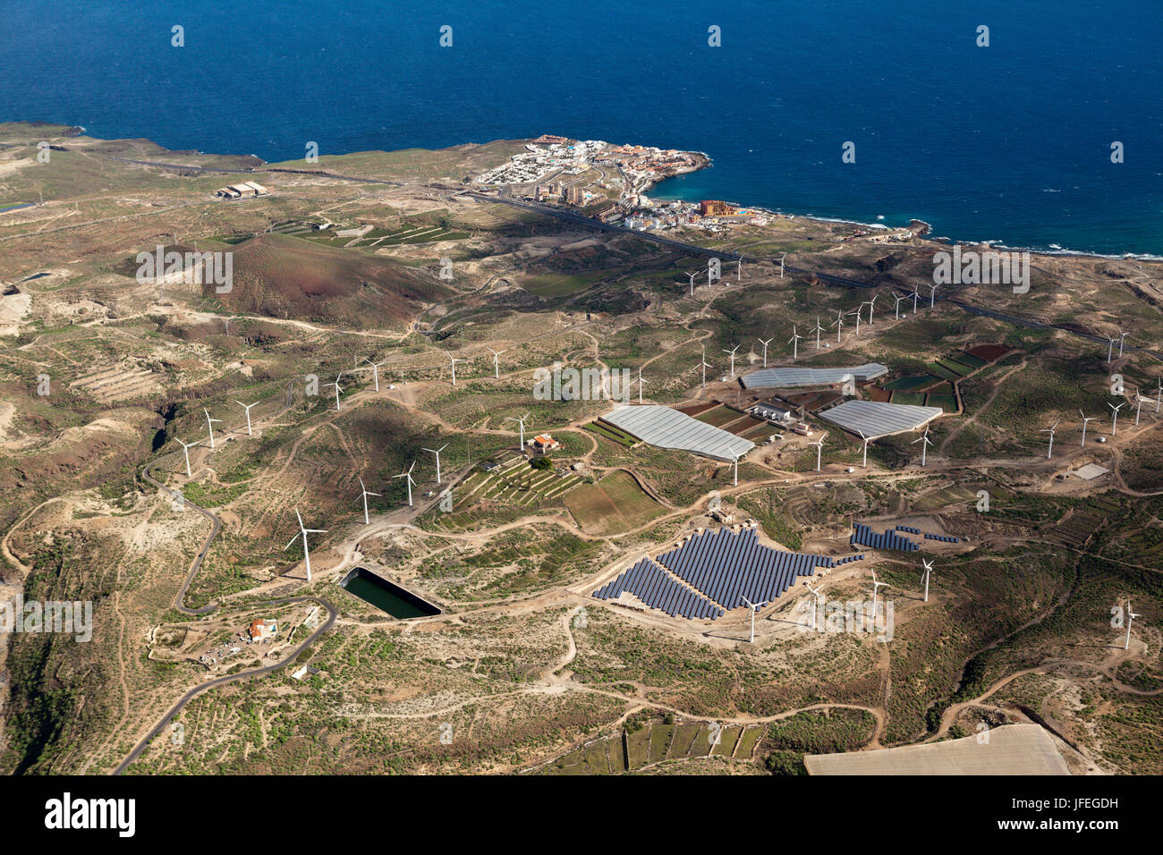 Aerial shot, solar installations and wind power stations, Tenerife, Spain - Stock Image