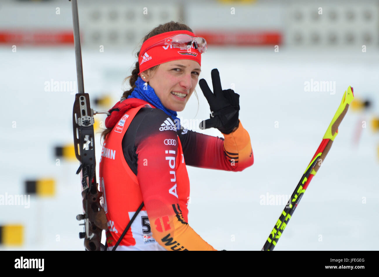 Winter sports, biathlon, world cup, Antholz, shooting range, Vanessa Hinz, GER - Stock Image