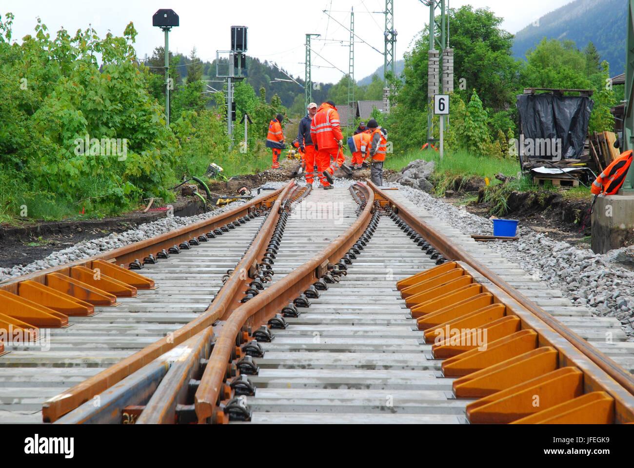 The German railways, track construction, railway worker, ballast renewal - Stock Image