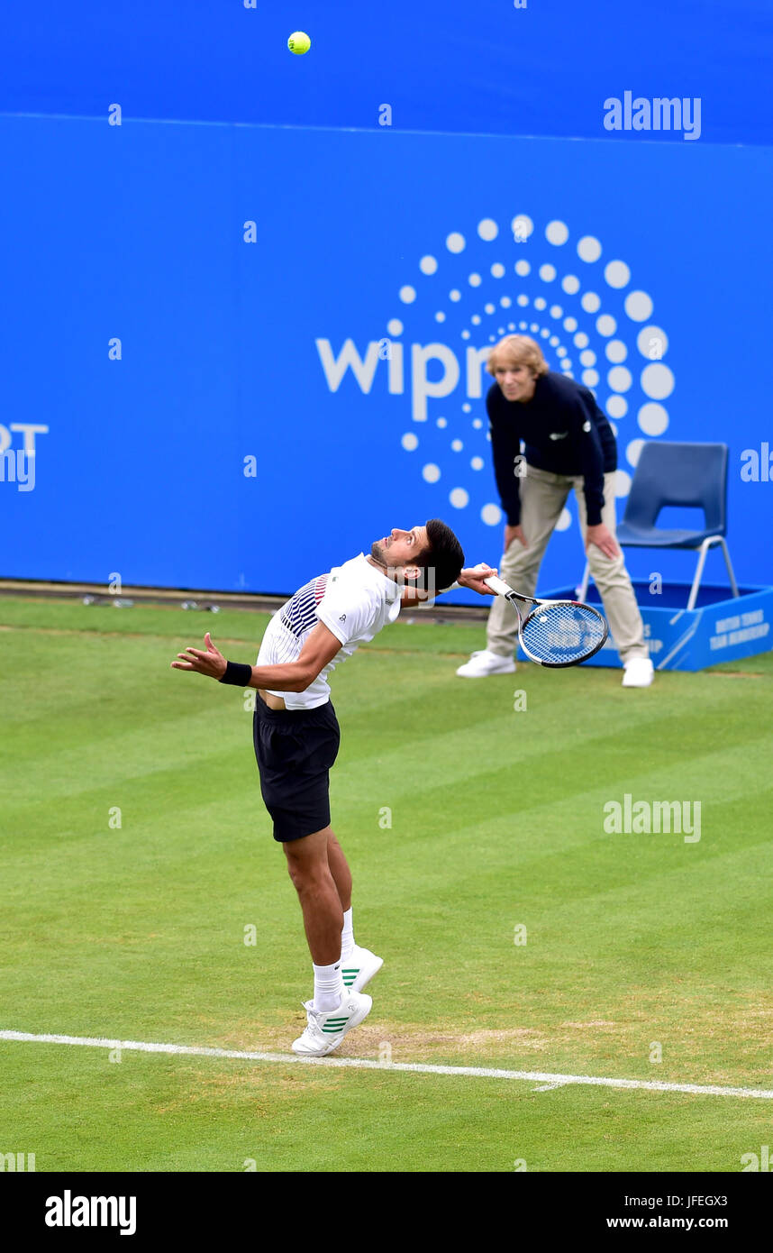 Novak Djokovic of Serbia during the Aegon International Eastbourne tennis tournament at Devonshire Park Eastbourne - Stock Image