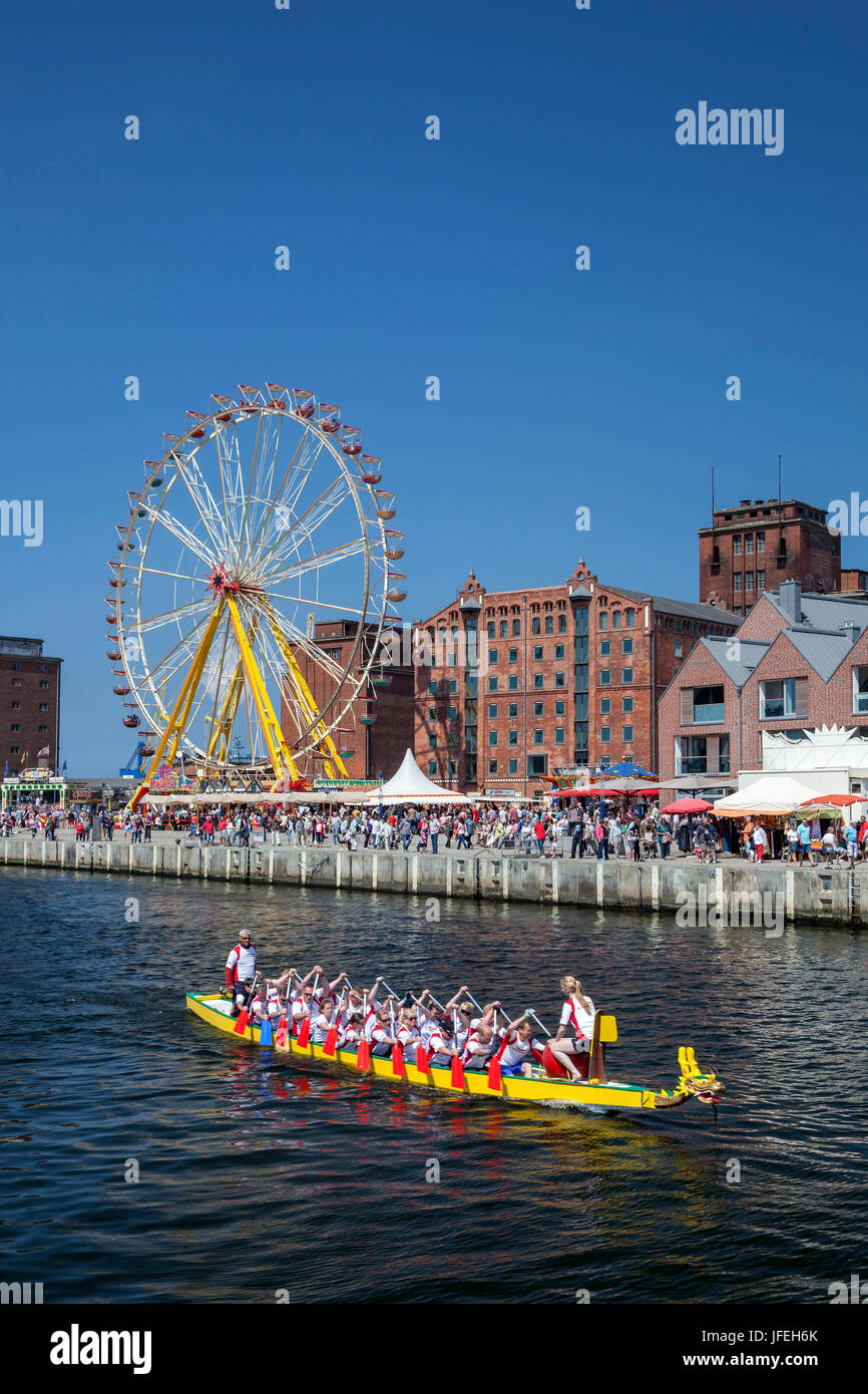 Dragon's Boat races during the harbour days, Hanseatic town Wismar, Mecklenburg, Mecklenburg-West Pomerania, - Stock Image