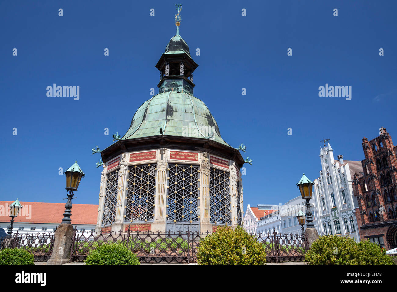 The Wismarer water art on the marketplace, Hanseatic town Wismar, Mecklenburg, Mecklenburg-West Pomerania, Germany - Stock Image