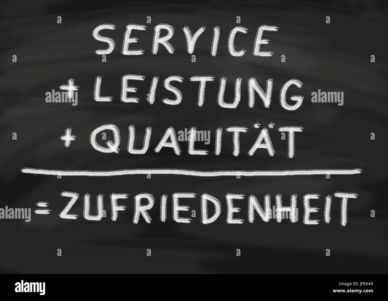Service, capacity and quality to the satisfaction of the customer, written on slate - Stock Image