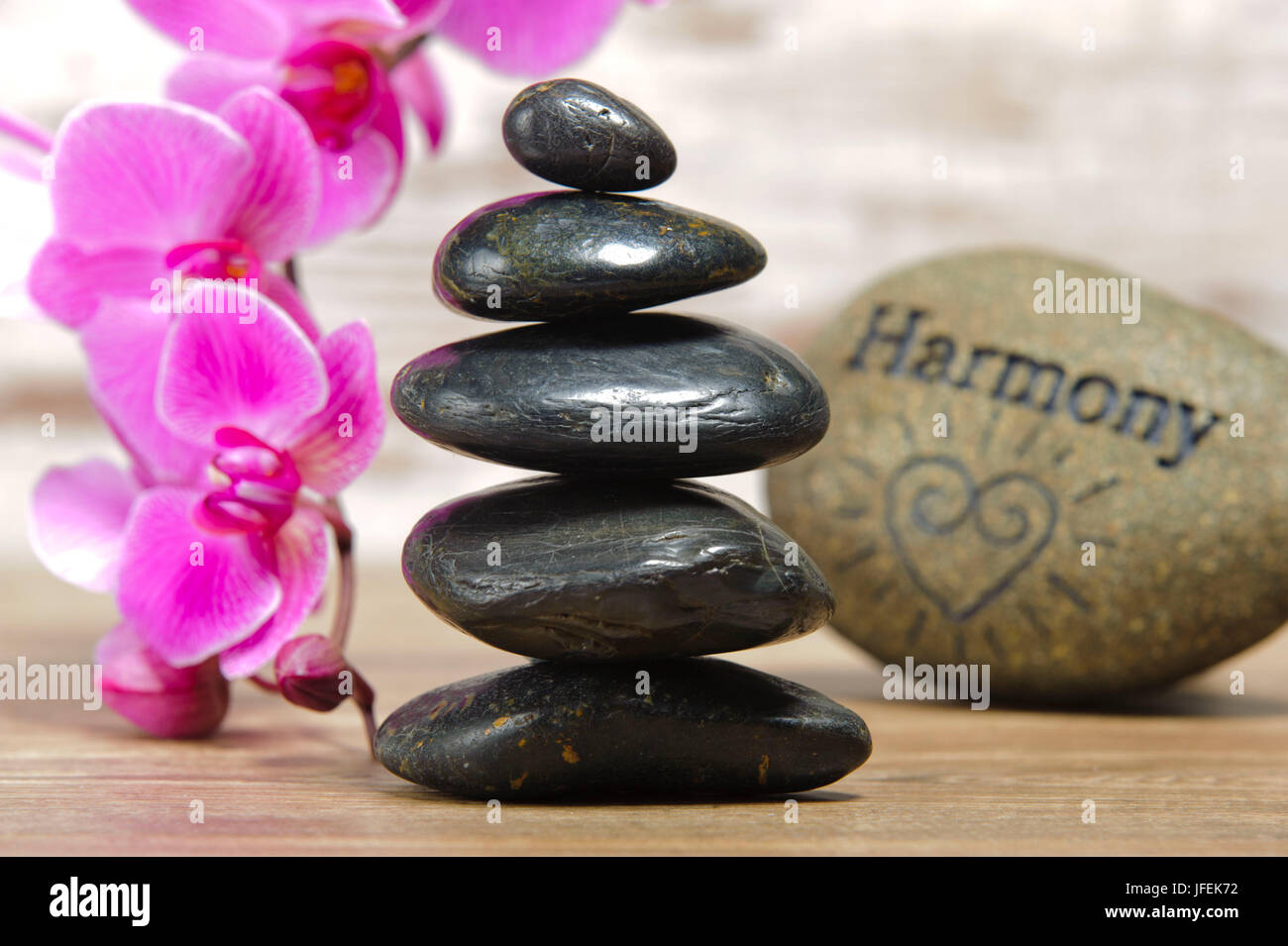 Stilllife, ZEN, stone tower, stone of the Harmony, orchids, - Stock Image