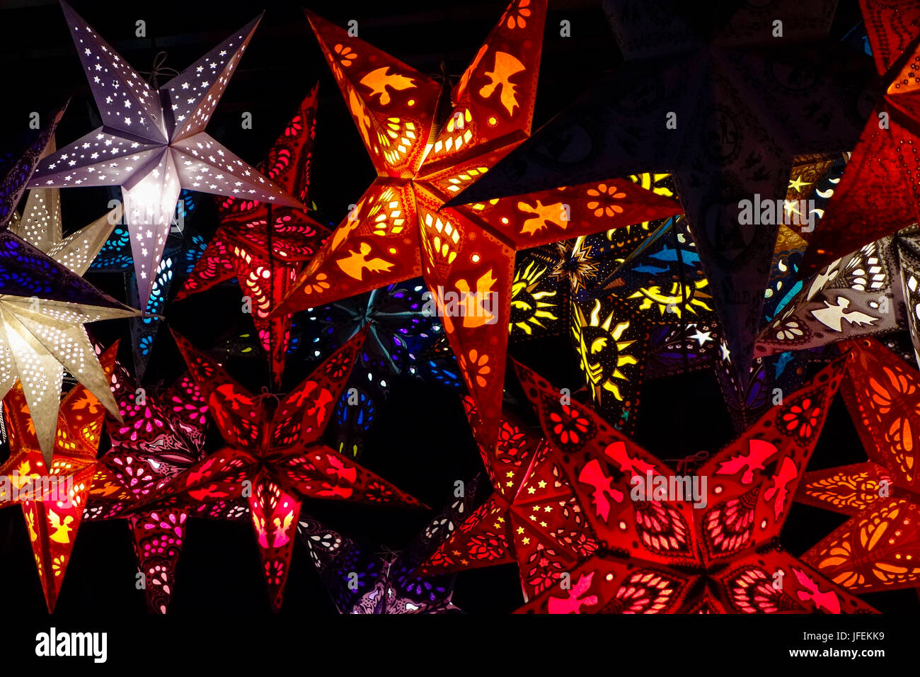 Bright stars on a Christmas fair in Munich, Bavaria, Germany - Stock Image