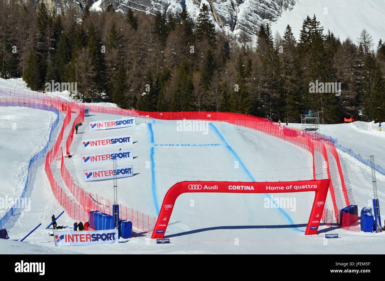 Italy, Veneto, Cortina d'Ampezzo, Tofana, ski world cup, downhill course, destination driveway - Stock Image