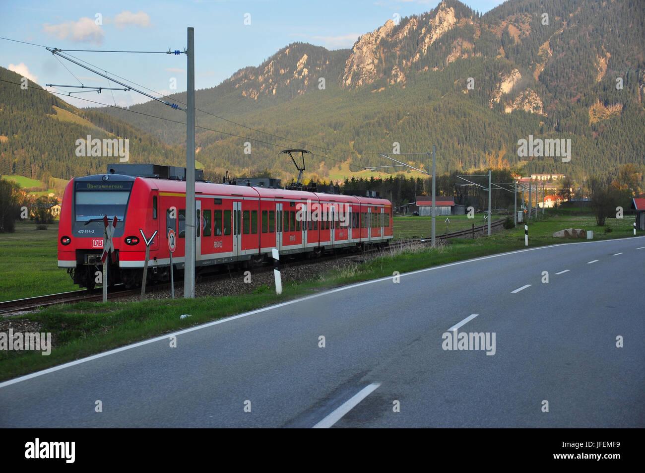Germany, Bavaria, Werdenfels, Ammer's region, federal highway, commuter train - Stock Image